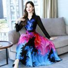 Printed Long-sleeve A-line Maxi Chiffon Dress