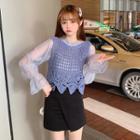 Plain Lantern-sleeve Blouse / Crochet Knit Camisole Top