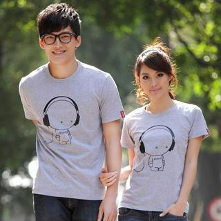 Short-sleeve Printed Couple T-shirt