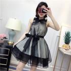 Bow Detail Organza Sleeveless A-line Dress