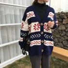 Patterned Striped Cardigan