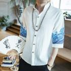 Elbow-sleeve Mandarin Collar Embroidery Shirt