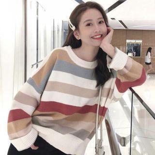 Striped Sweater Stripe - Khaki & Gray & White - One Size