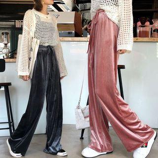 Drawstring Velvet Wide-leg Pants