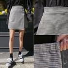 Wrap-front Houndstooth Miniskirt