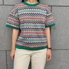 Short-sleeve Patterned Knit Sweater
