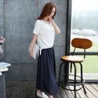 Set: Short-sleeve Henley + Midi Skirt