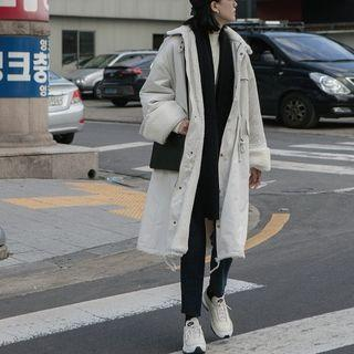 Long Faux Shearling Lined Buttoned Coat