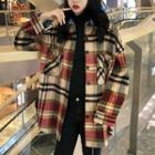 Plaid Woolen Long Shirt