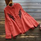 Floral Embroidered Hidden Placket Shirt