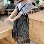 3/4-sleeve Cold Shoulder Striped Lace Paneled A-line Midi Dress