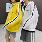 Couple Matching Lettering Hooded Windbreaker