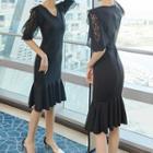 Lace Panel Ruffle Hem Elbow-sleeve Sheath Dress