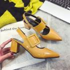 Buckled Slingback Pointy Pumps