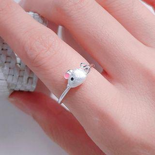 925 Sterling Silver Mouse Open Ring Silver & Pink - One Size