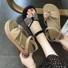 Checked Bow Accent Sandals