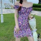 Boatneck Ruffled-trim Chiffon Mini Dress