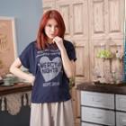 Letter-print Hooded T-shirt