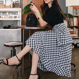 Mock Two-piece Short-sleeve Gingham Paneled A-line Midi Skirt