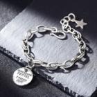 925 Sterling Silver Lettering Disc Bracelet Dark Silver - One Size