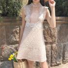 Lace-up Sleeveless Lace Dress