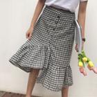 Gingham Asymmetric Ruffle Hem Midi Skirt