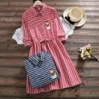 Owl Embroidered Striped Shirt Dress