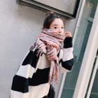 Patterned Fringed Scarf Plaid - Multicolor - One Size
