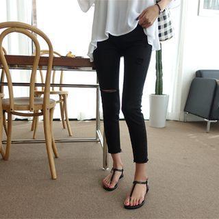 Fray-hem Distressed Slim-fit Pants