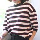 Stripe Elbow-sleeve Knit Top