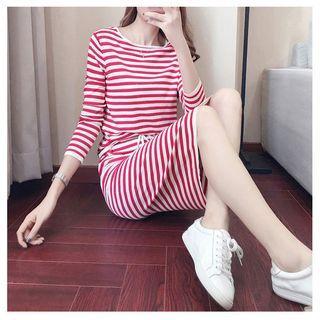 Set: Striped T-shirt + Drawstring Waist Skirt