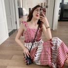 Ribbon Strap Plaid Striped Dress