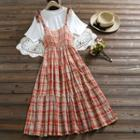 Set: Plaid Sleeveless Dress + Plain T-shirt