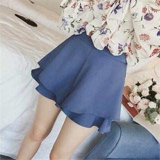 Colored Ruffled Tiered Shorts
