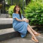 Tab-sleeve Stitched Denim Dress