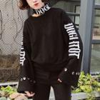 Mock-neck Lettering Cutout Sweatshirt