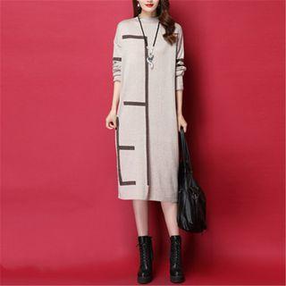 Contrast Trim Midi Knit Dress