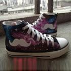 Painted Moustache Galaxy Canvas Sneakers
