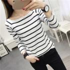 Striped Long-sleeve Square-neck T-shirt