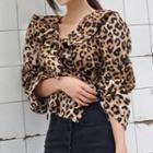 Leopard Print Ruffle Trim Blouse