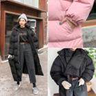 Hooded Puffer Coat With Scarf