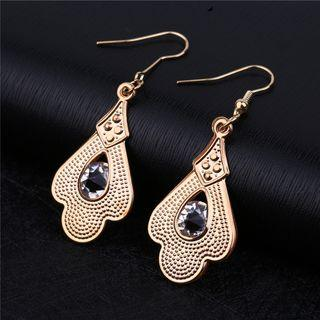 Glass Bead Drop Earring 1 Pair - Gold - One Size