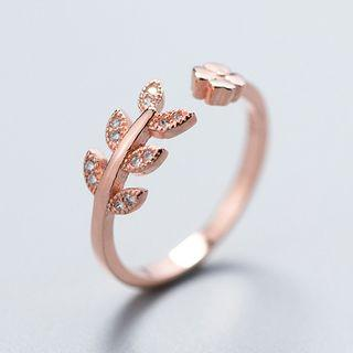 925 Sterling Silver Rhinestone Leaf Open Ring Silver - One Size