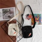 Carrot Embroidery Canvas Crossbody Bag