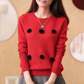 Texture Pattern Pom Pom Accent Top