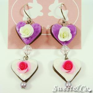 Sweet Lover Heart Rose Purple Chocolate Earrings