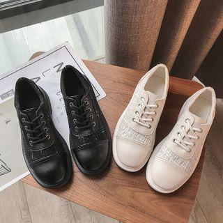 Tweed Panel Lace-up Oxford Shoes