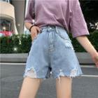 Plain High-waist Loose-fit Wide-leg Denim Shorts