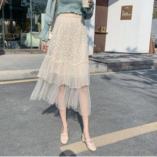 Ruffle Trim Mesh A-line Skirt