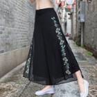Flower Embroidered Wide Leg Chiffon Pants
